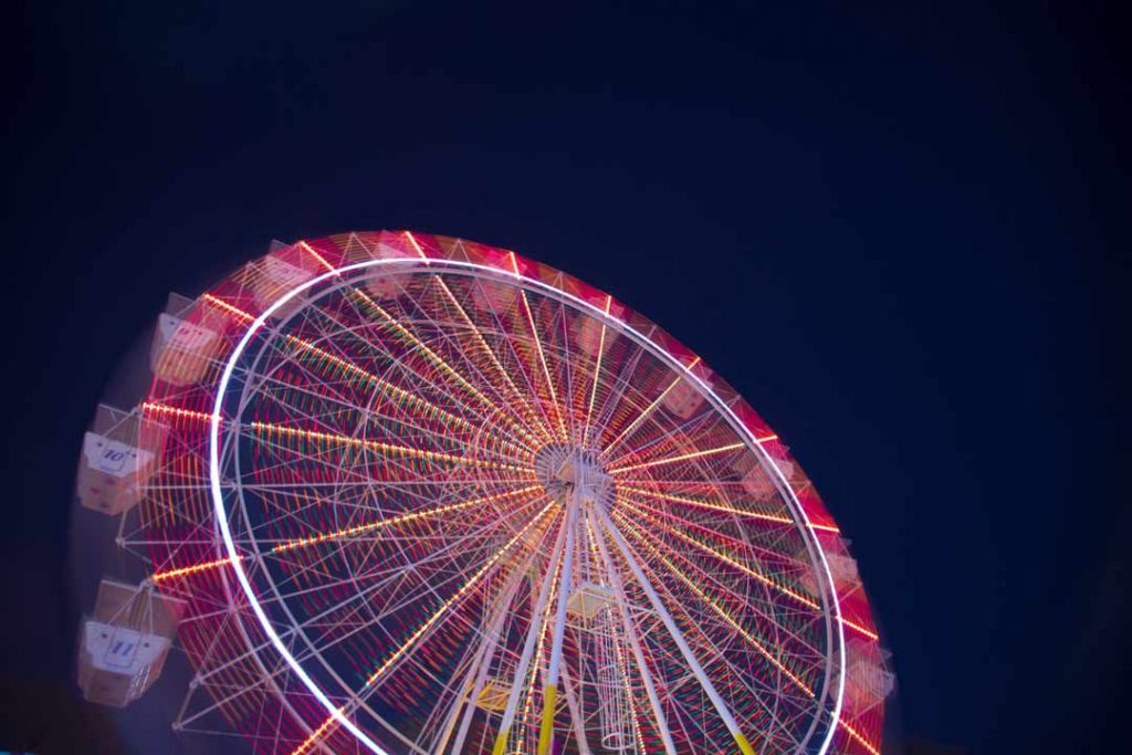 Large ferris wheel at the Perth Royal show in Claremont, Perth, Western Australia, taken at night.