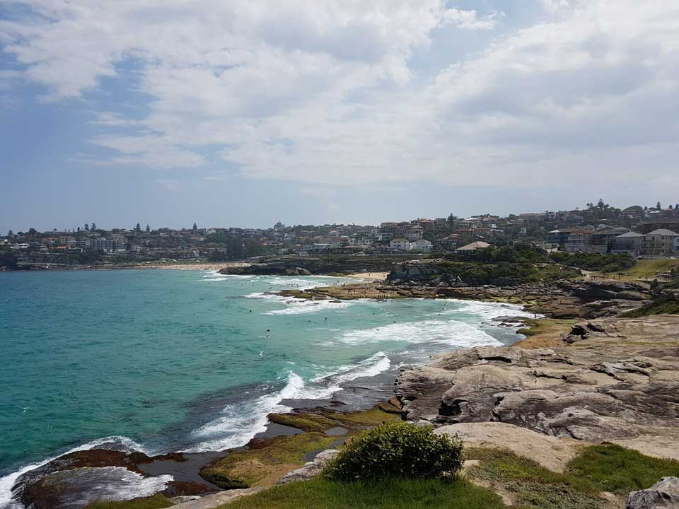 The rocks and beaches off the shoreline around Tamarama.